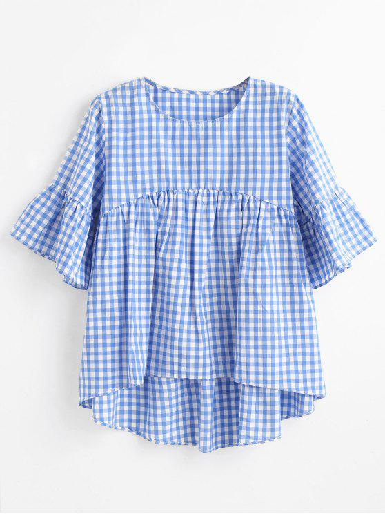 High Low Plaid Bluse - Himmelblau M