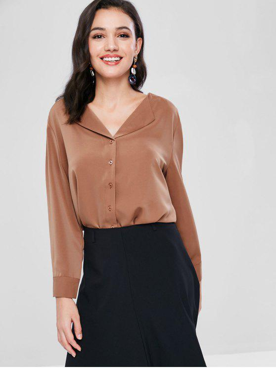 V-Ausschnitt Button-Up-Bluse - Khaki Rose M