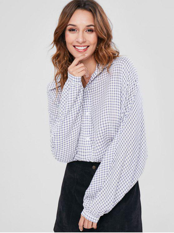 womens Dolman Sleeves Gingham Shirt - WHITE L