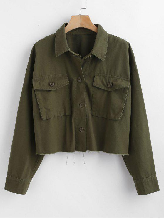 women Utility Pockets Shacket Oversized Shirt - ARMY GREEN M