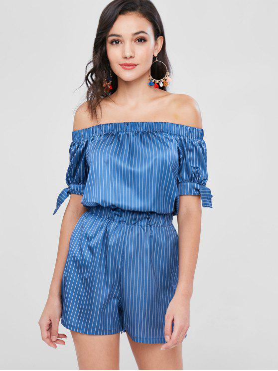 outfits Satin Pinstriped Off The Shoulder Romper - BLUE S