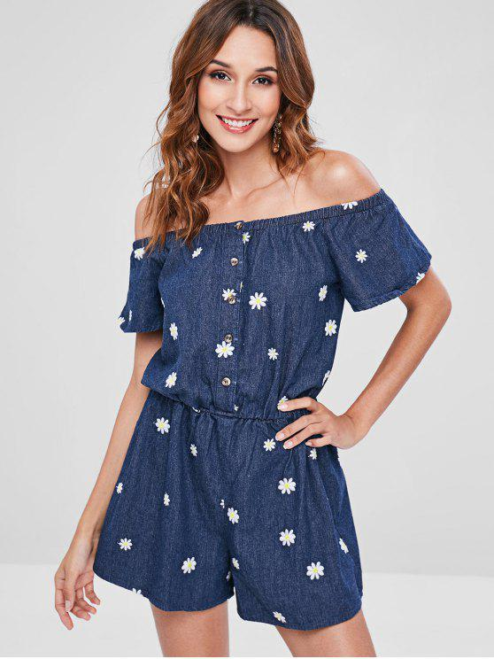 latest Off The Shoulder Daisy Embroidered Denim Romper - DEEP BLUE M