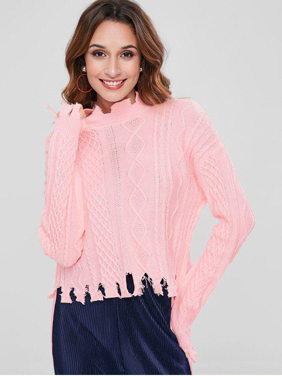 buy Distressed Cable Knit Sweater - PINK XL