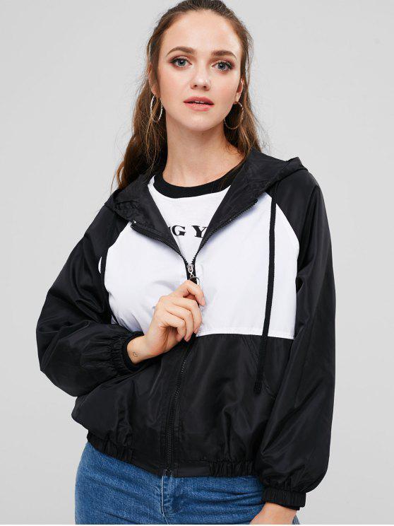 fancy Hooded Color Block Windbreaker Jacket - BLACK M
