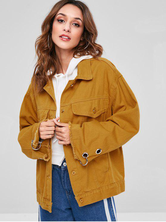 affordable Letter Embroidered Frayed Jacket - BEE YELLOW M
