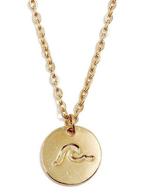 trendy Round Sea Wave Printed Pendant Necklace - GOLD