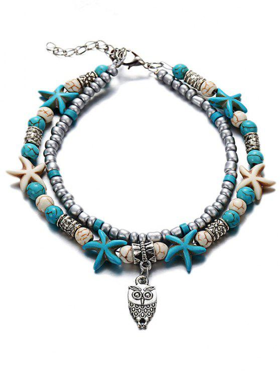 affordable Owl Pendant Beaded Anklet - MULTI