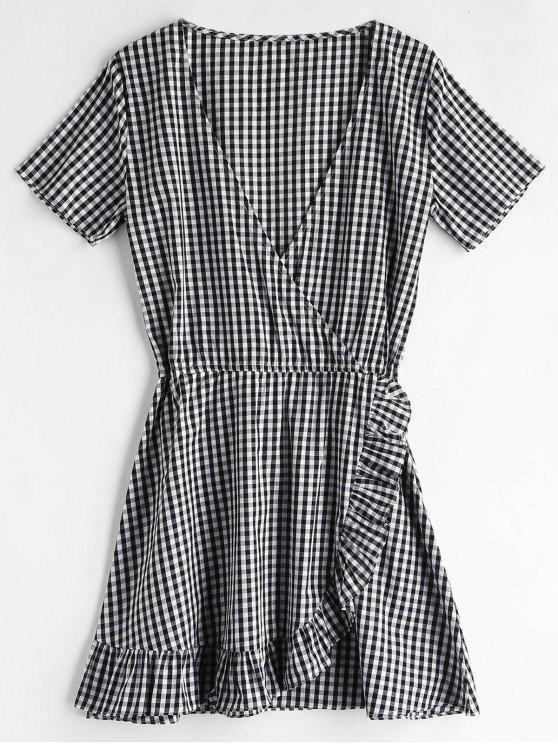 ZAFUL Gingham Ruffles البسيطة اللباس - أسود S
