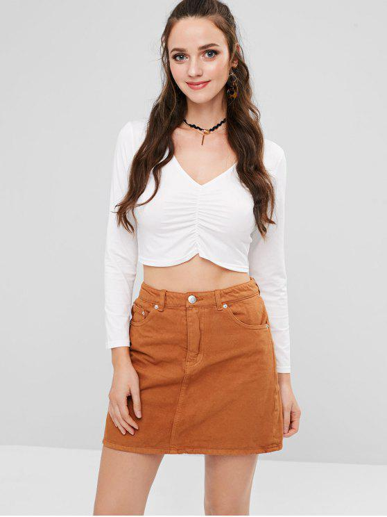 lady Ruched Front Long Sleeve Cropped T-Shirt - WHITE L