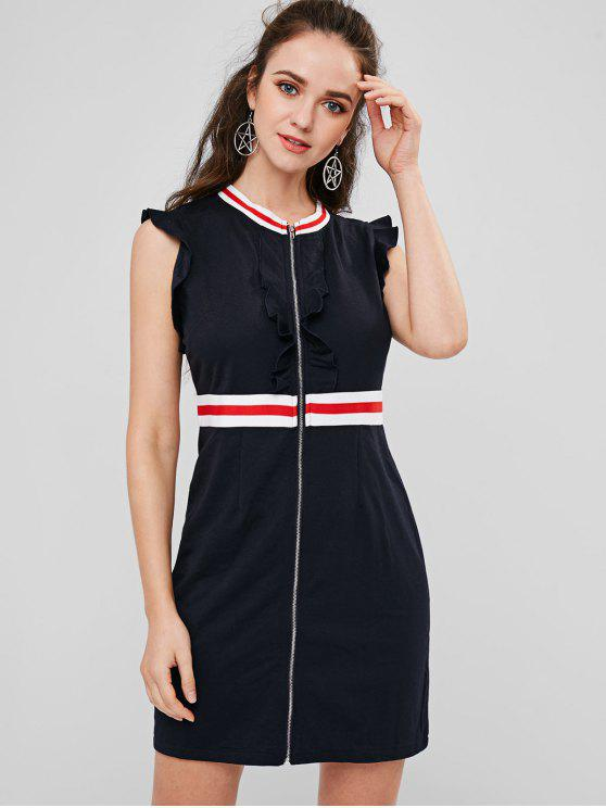 fancy Ruffles Zip Front Striped Dress - DARK SLATE BLUE L