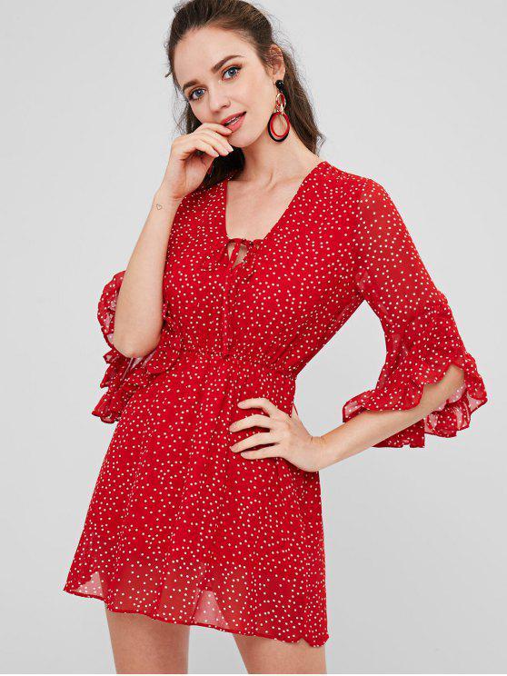 ladies Polka Dot Chiffon Ruffles Dress - LOVE RED ONE SIZE