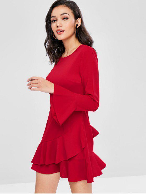 فستان بأكمام كشكش متداخلة - أحمر M