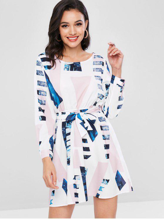Bedrucktes Belted Flare Kleid - Weiß XL
