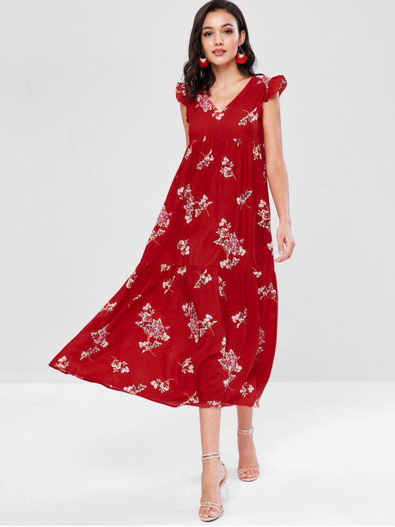 فستان بياقة V مزين بالزهور - Fire Fire Red L