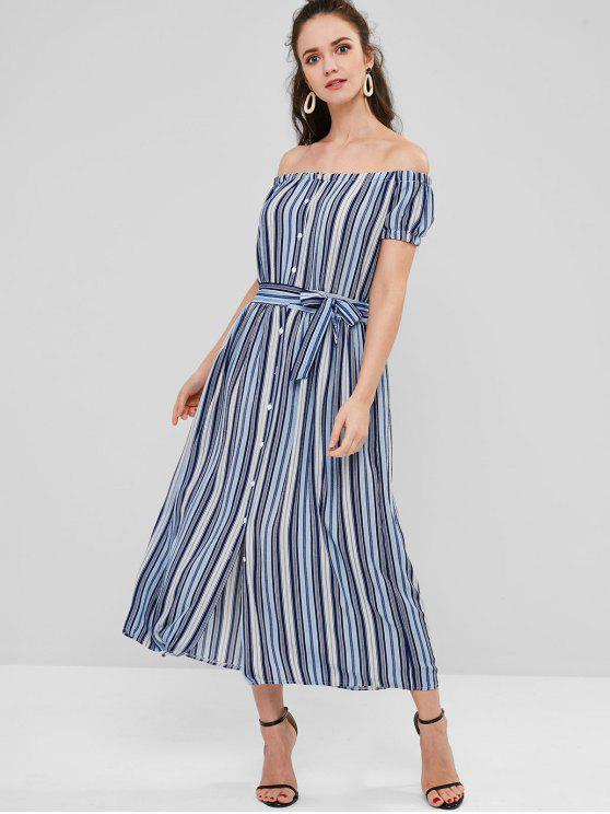 unique Off Shoulder Striped Belted Dress - DEEP BLUE S