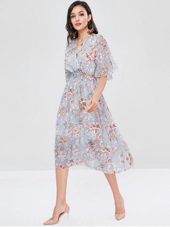 online Plant Print Shirred Surplice Dress - MULTI L