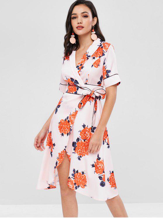 hot Piping Floral Wrap Dress - PINK BUBBLEGUM M