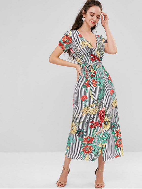 fashion Ruched Floral Striped Wrap Dress - MULTI S
