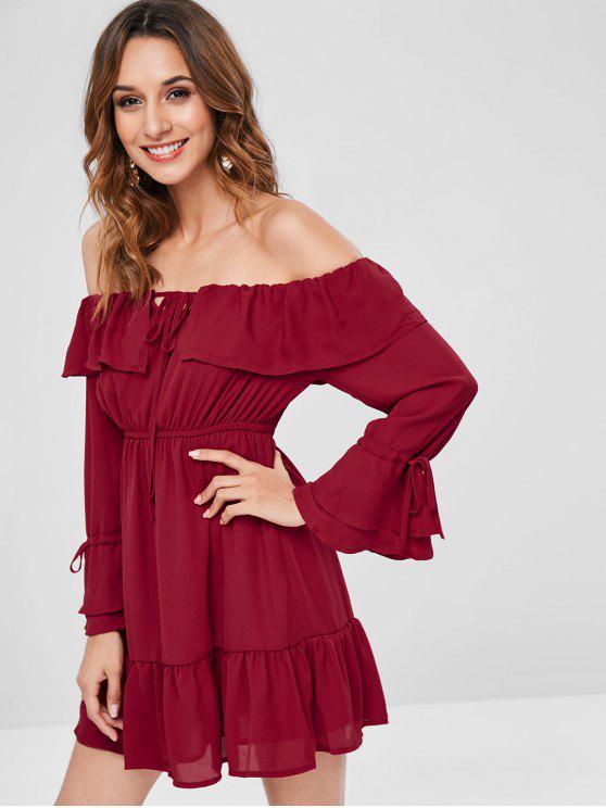 fancy Off The Shoulder Chiffon Mini Dress - RED WINE S