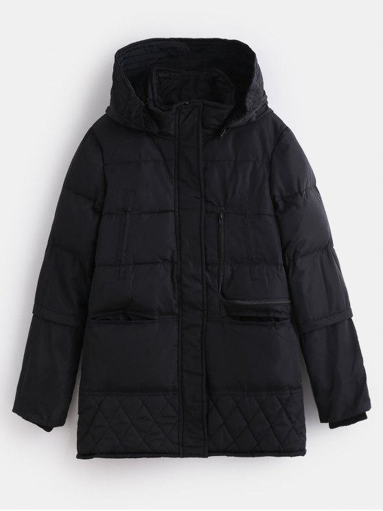 womens Winter Faux Fur Lined Quilted Coat - BLACK M