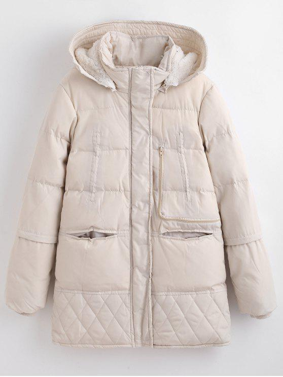 ladies Winter Faux Fur Lined Quilted Coat - WARM WHITE 2XL
