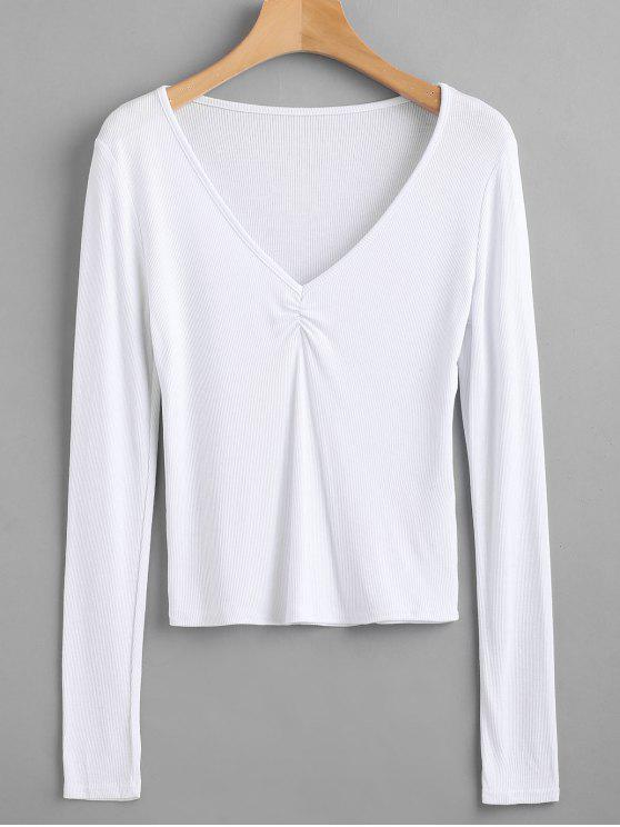 Camiseta de manga larga acanalada con cuello en V - Blanco S