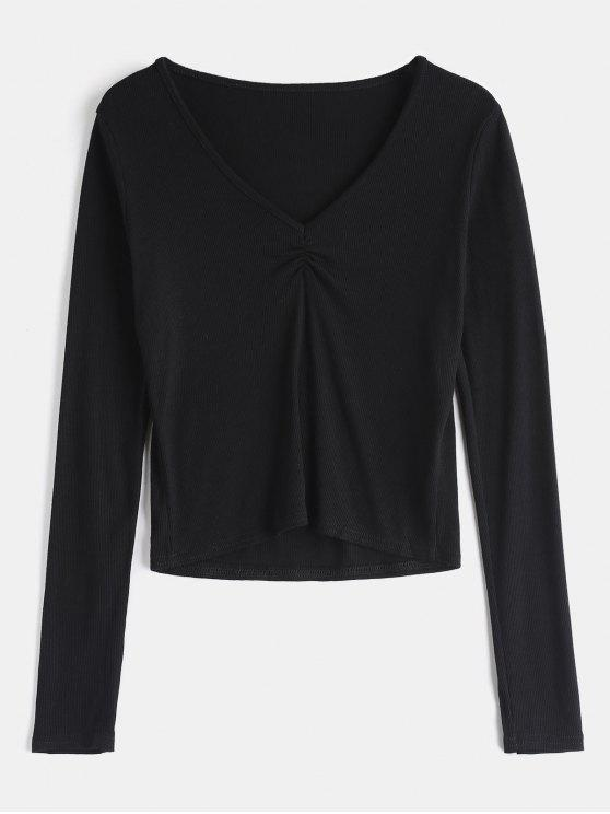 outfits V Neck Ribbed Long Sleeve T-Shirt - BLACK M