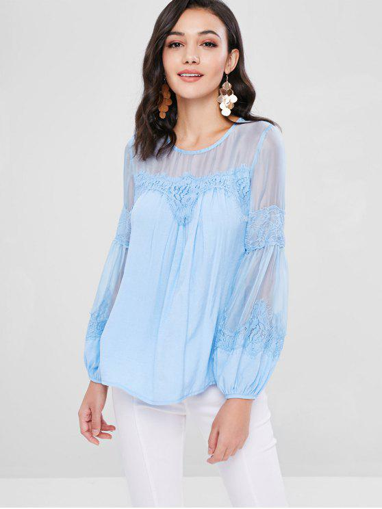 chic Lace Sheer Panel Bishop Sleeve Blouse - DAY SKY BLUE M