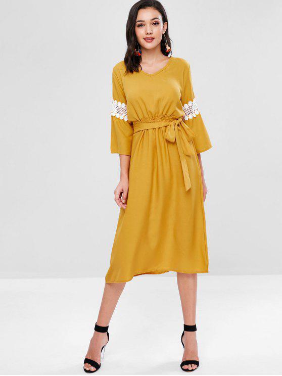 Vestido de media pierna anudado con paneles de encaje - Marrón Dorado L