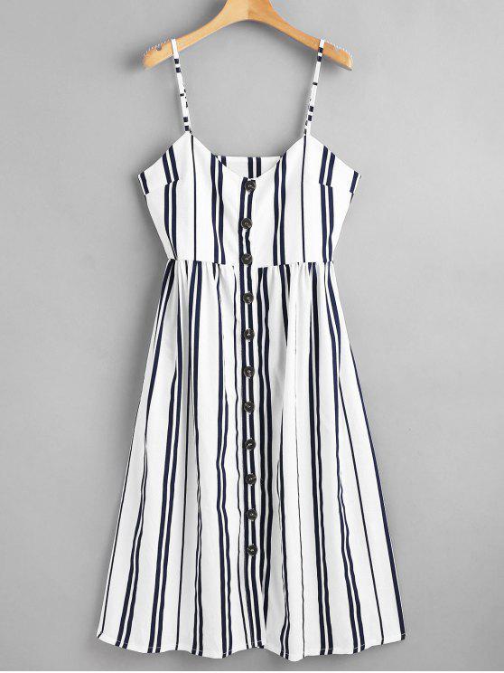 sale Button Through Cami Striped Midi Dress - MULTI S