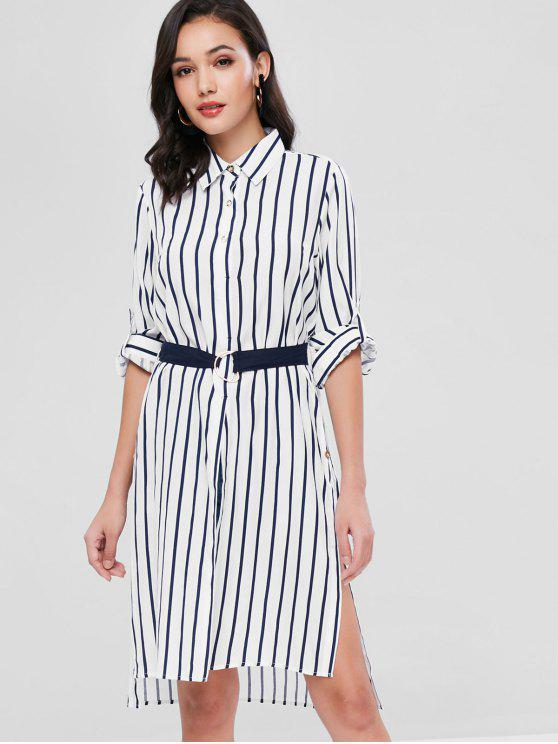 new Slits Striped Longline Shirt - MULTI M