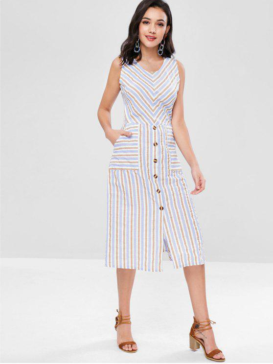 hot Striped Sleeveless Mid Calf Dress - MULTI L