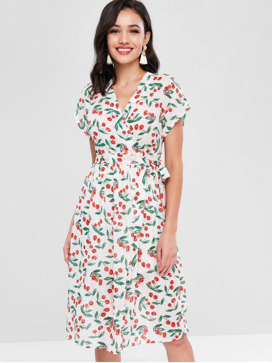 fashion Cherry Print Wrap Dress - WHITE ONE SIZE