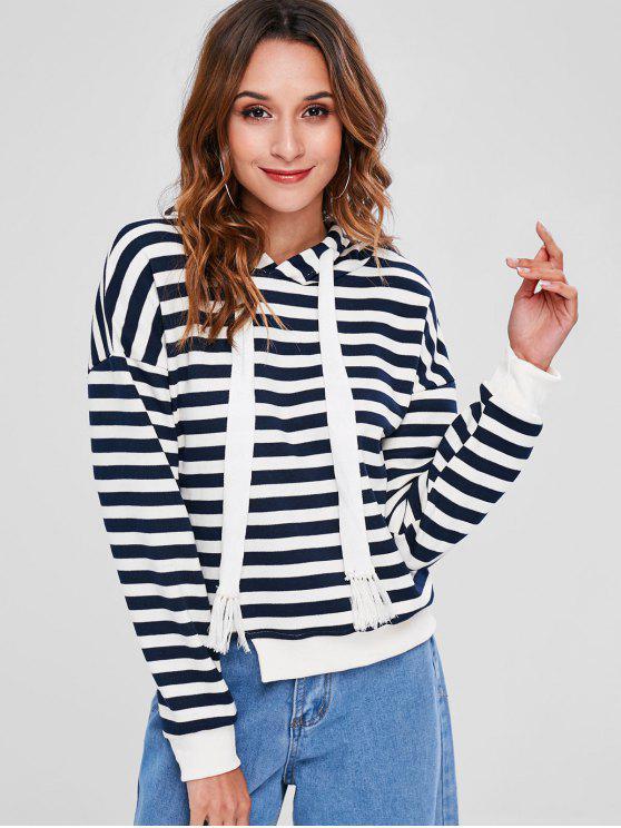 women's Striped Cutout Hoodie - MULTI M