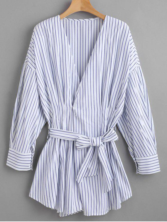 ladies Belted Striped Long Shirt - BLUE M