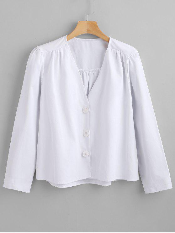 hot Button Up Long Sleeve Top - WHITE L