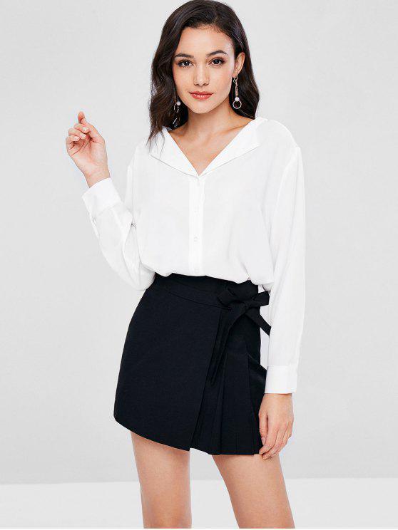 shops V Neck Button Up Blouse - WHITE S