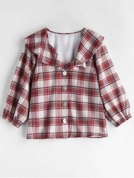 trendy Ruffle Plaid Blouse - MULTI L