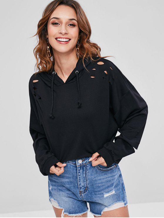 affordable Slashed Pullover Cropped Hoodie - BLACK M