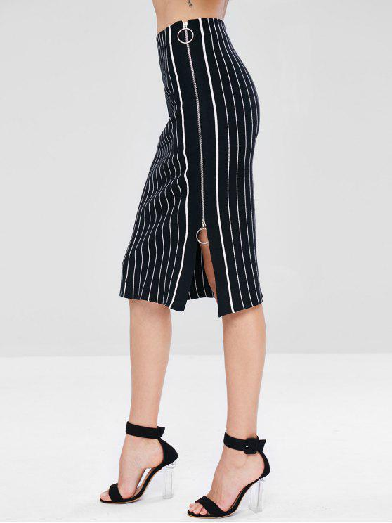 lady Zip Up Striped Midi Knit Skirt - BLACK ONE SIZE