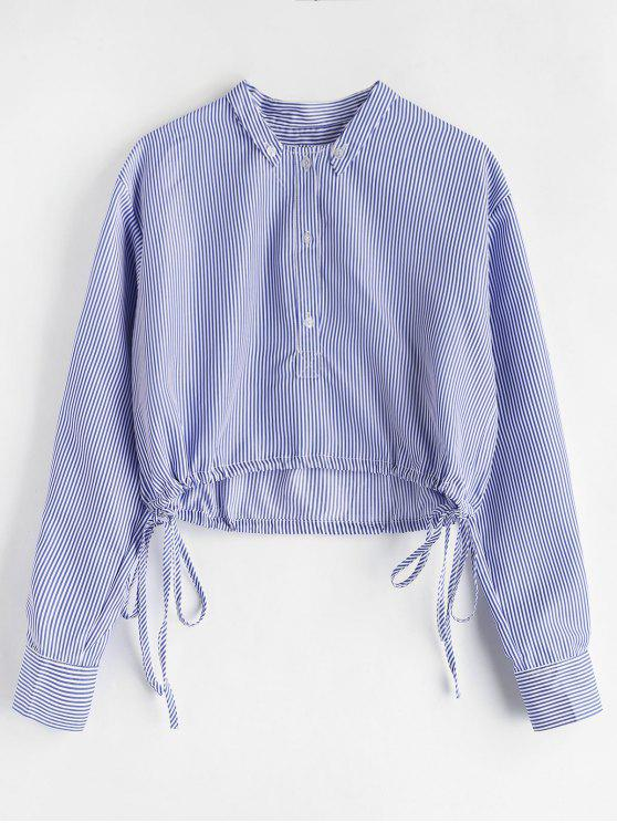 new Half Button Striped Blouse - SKY BLUE XL