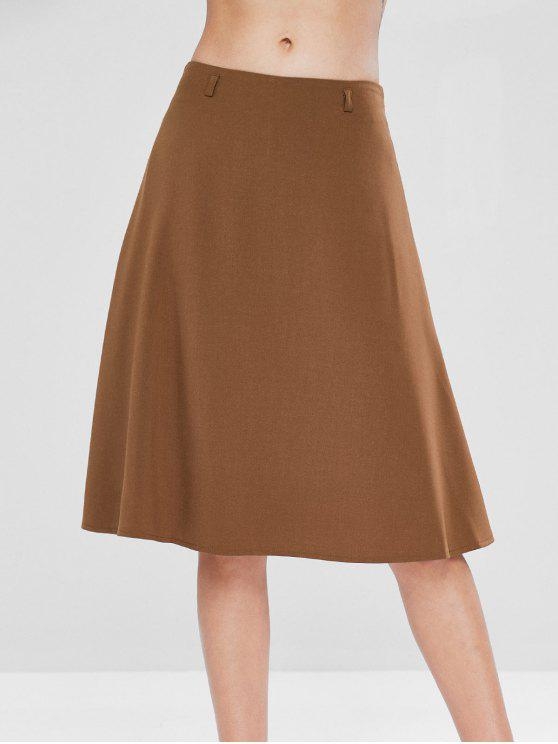 outfits Mid Waist A Line Skirt - LIGHT BROWN S