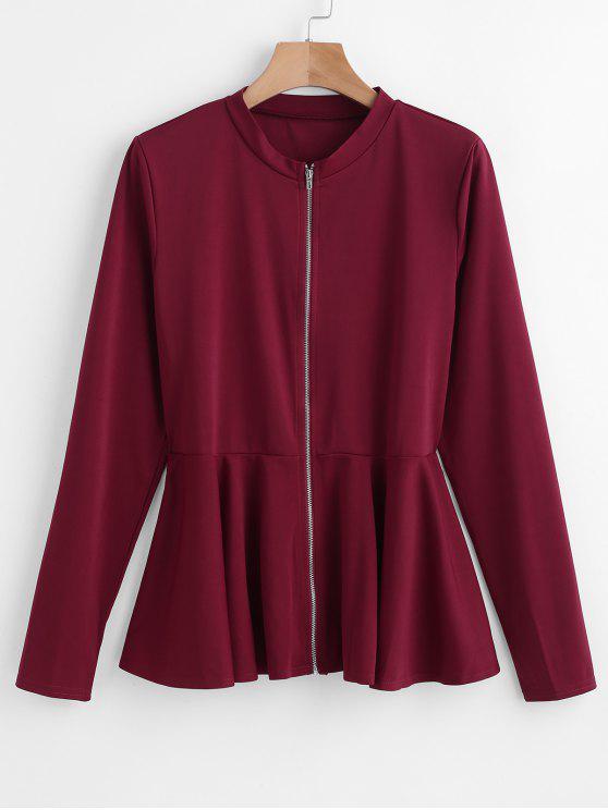 fashion Long Sleeve Zip Up Peplum Top - RED WINE XL