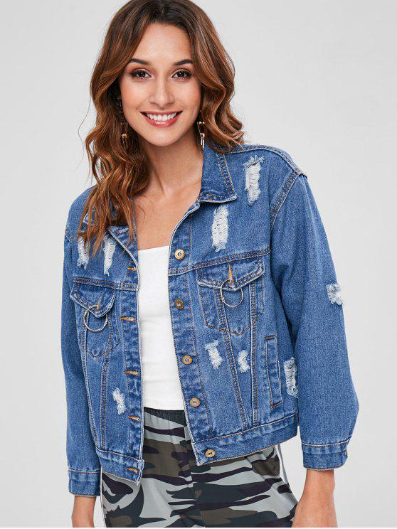 womens Distressed Button Up Denim Jacket - DENIM DARK BLUE ONE SIZE