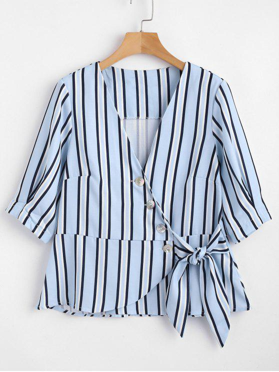 new Striped Button Up Wrap Top - MULTI S