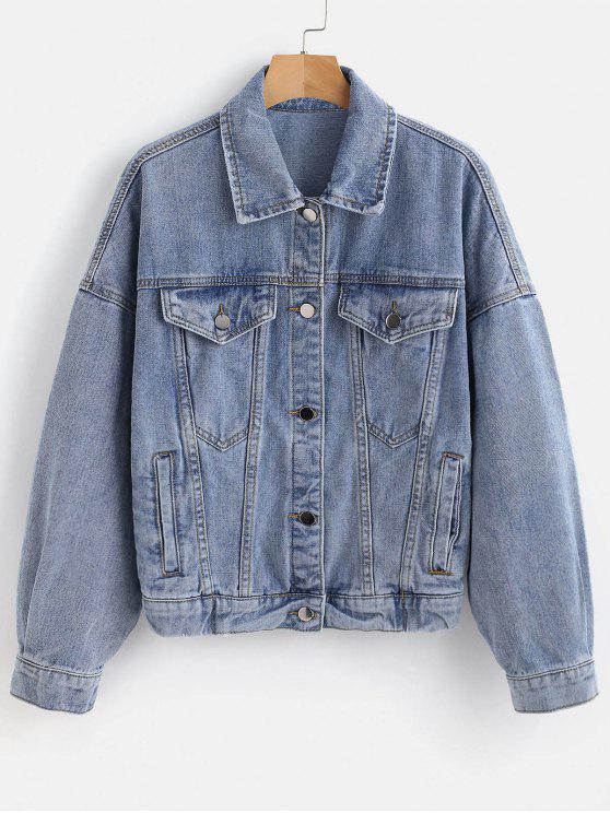 Jaqueta jeans desbotada branqueada - Azul M