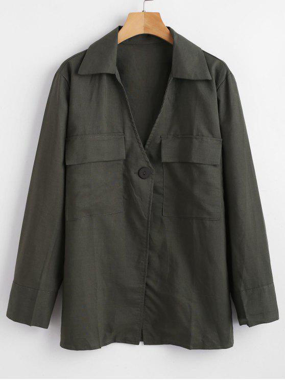 women's One-button Tunic Top - HAZEL GREEN M