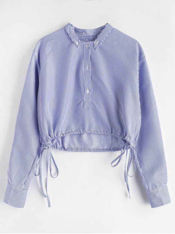 Half Button gestreifte Bluse - Himmelblau L