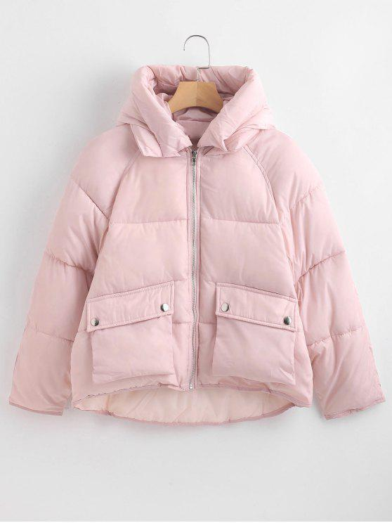 outfit Pockets Hooded Quilted Jacket - PINK M