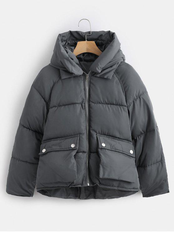 fashion Pockets Hooded Quilted Jacket - GRAY L